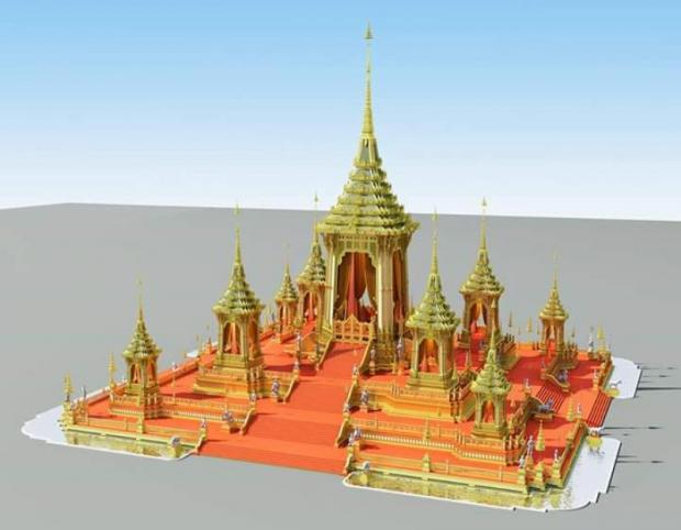 graphic impression of the royal crematorium being constructed for the Thai king's cremation in Oct