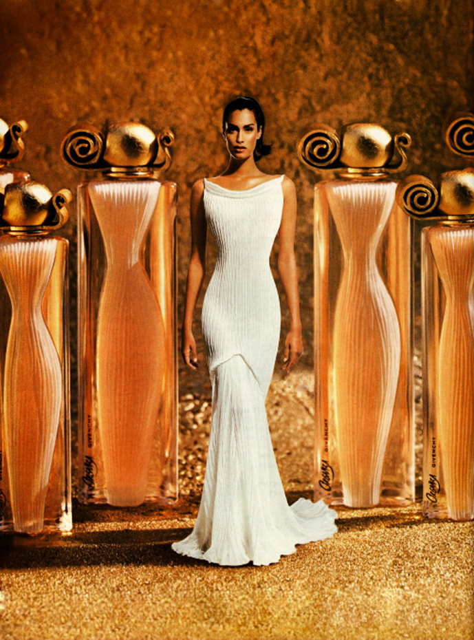 Yasmeen Ghauri by Marc Hispard for Givenchy Organza perfume ad campaign via fashioned by love british fashion blog