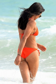 English: Padma Lakshmi Orange Bikini Miami