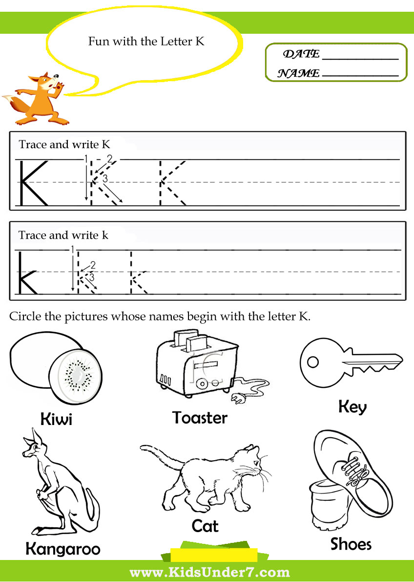 Kids Under 7 Alphabet – Letter K Worksheets for Preschoolers