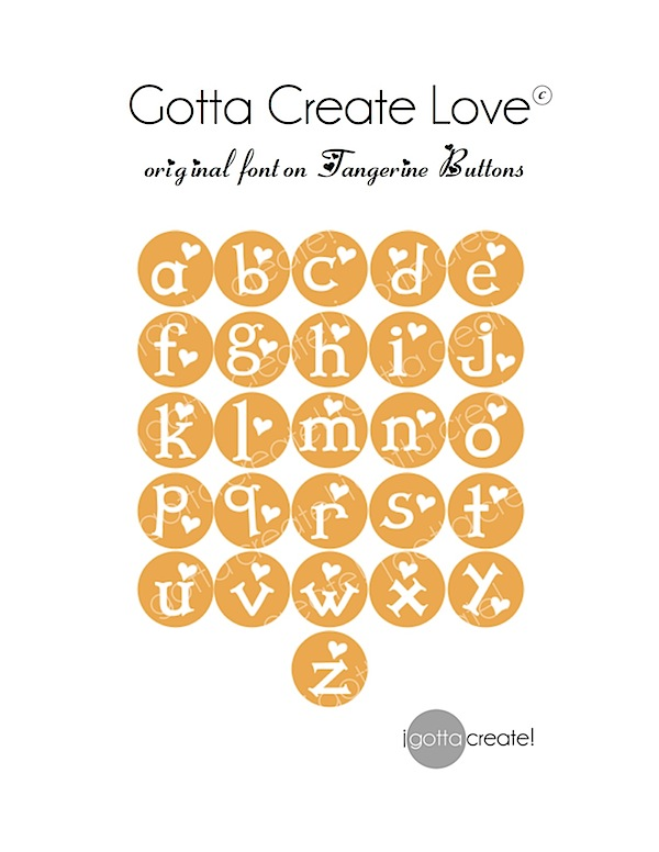 Alphabet Love! Cute original font on tangerine buttons can be used in so many ways. Via I Gotta Create!