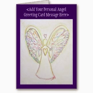 Rainbow Hearts Angel Custom Greeting Cards