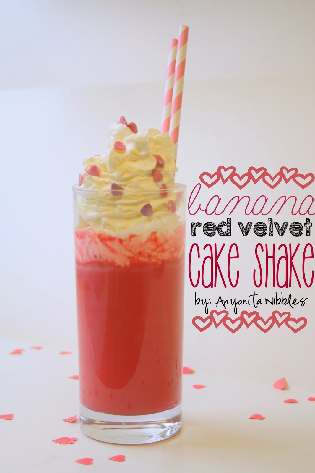 "Banana Red Velvet Cake Shake ""I love that she uses red velvet flavoring and coloring to make a shake!"""