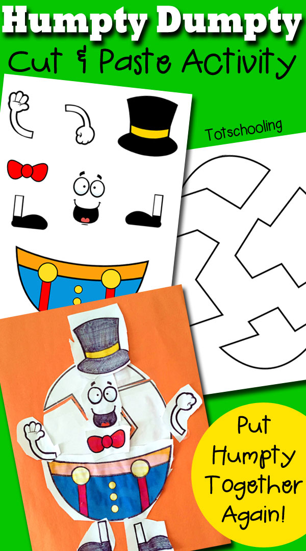Humpty Dumpty Printable Cut Paste Activity Totschooling