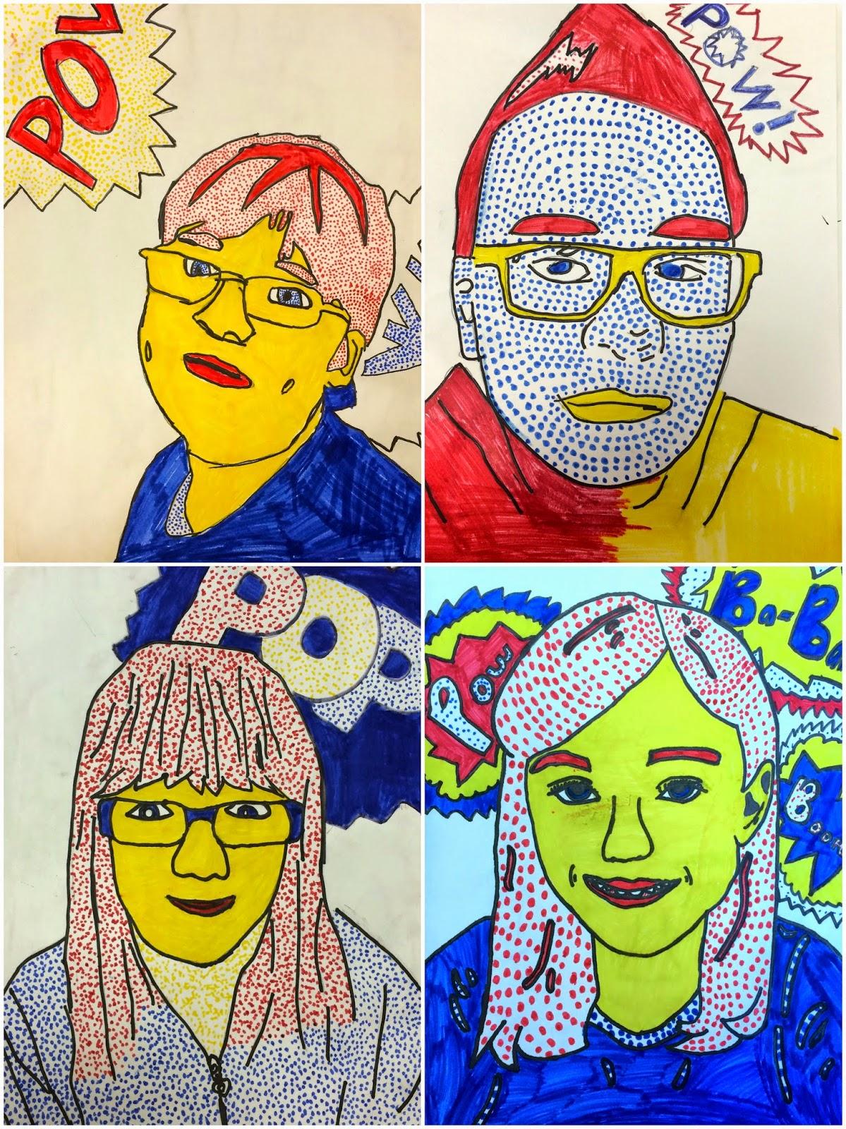 art eat tie dye repeat 6th grade roy lichtenstein self portraits