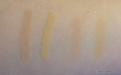 Swatches of Milani Shadow Eyez in Almond Cream and L'Oreal True Match Super Blendable Crayon Concealer in Fair/Light
