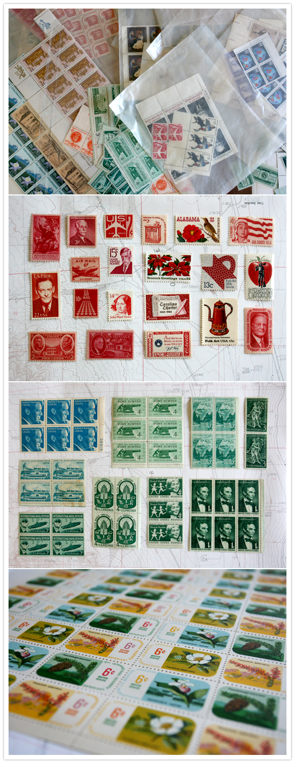 vintage color stamps for wedding invitations and save the dates