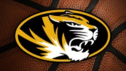 NCAA basketball with University of Missouri logo on it