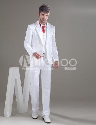 Poches romantiques balai blanc Groom Wedding Tuxedo