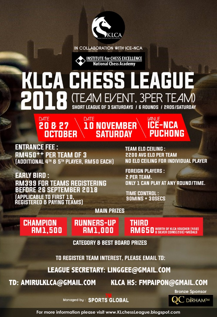 KLCA CHESS LEAGUE 2018