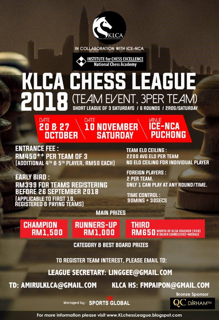 KLCA CHESS LEAGUE 2018