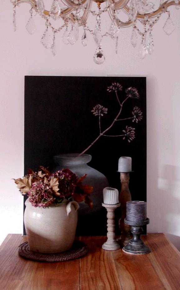Schilderij als decoratie op de eettafel for Decoratie op eettafel