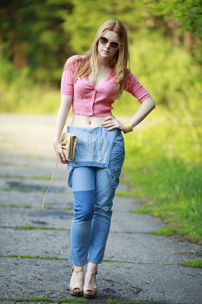 gold heels, zlaté lodičky, džíny s laclem, Lucie Srbová, česká blogerka