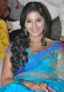 Anjali Latest Pictures in Blue Designer Saree at SVSC Audio Launch
