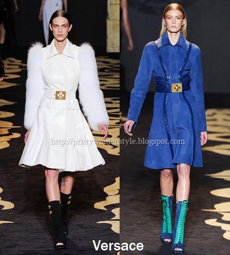 Versace палта от гладки кожи