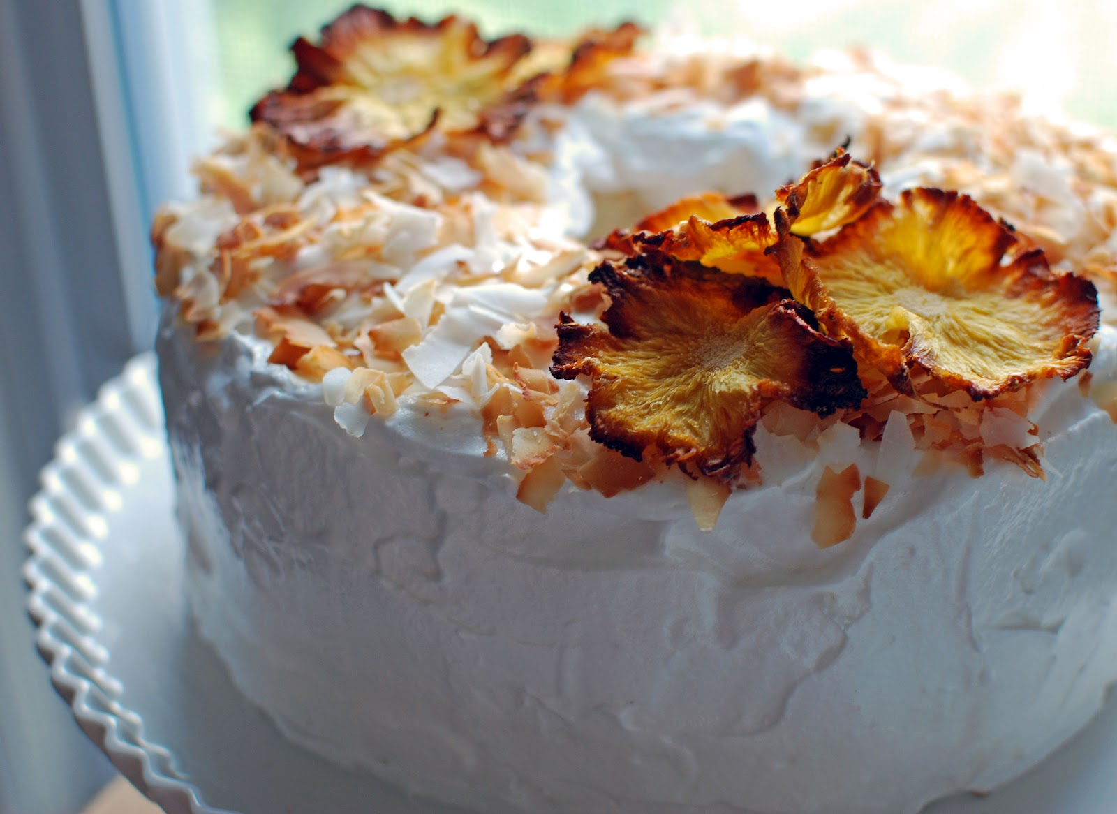 The Kitchen Boudoir: Coconut Cloud Cake with Pineapple Flowers