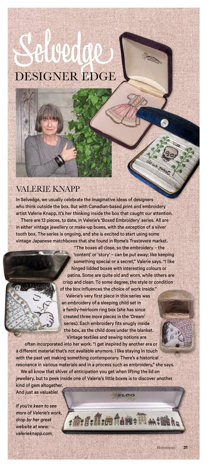 Featured in HOMESPUN Magazine, Australia