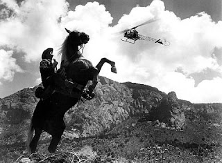 Jack Burns fleeing a police helicopter Lonely are the Brave Kirk Douglas 1962 movieloverreviews.blogspot.com