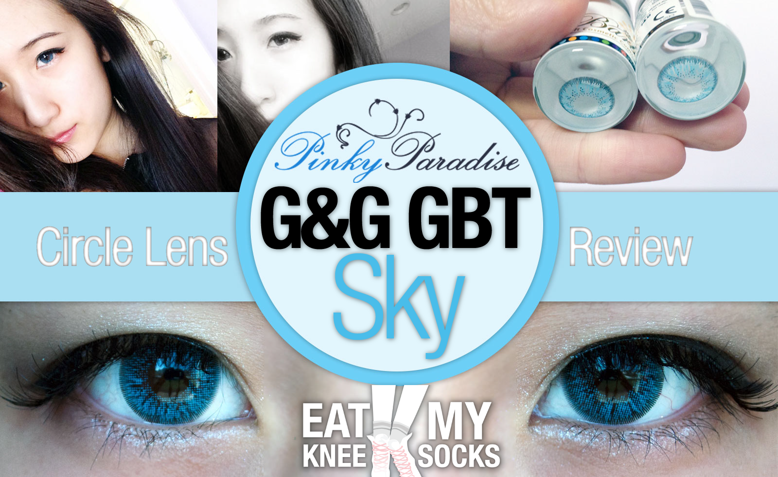 Circle lens review for the G&G GBT Sky blue lenses from Pinky Paradise, perfect for everyday occasions or special events such as Halloween!