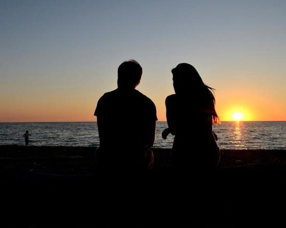 Boy, Girl, beach, sea wave, sunset, dan sky