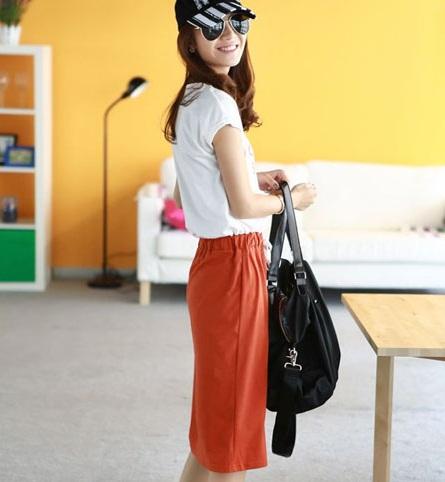 Cara pemesanan korean style : dress santai london story orange ini: