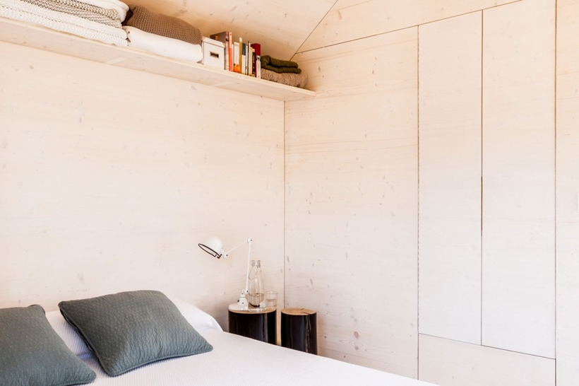 Wooden walls of a portable home