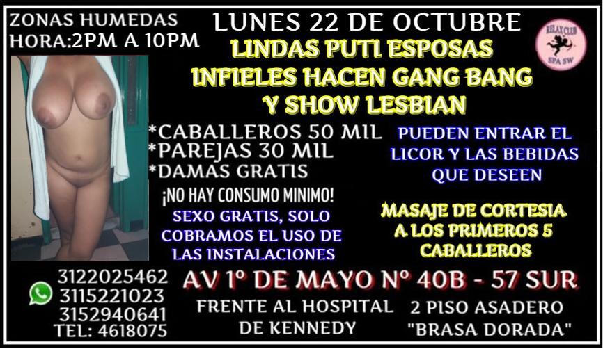 LUNES 22 DE OCTUBRE DE 2 PM A 10 PM TE ESPEAMOS EN GANG BANG
