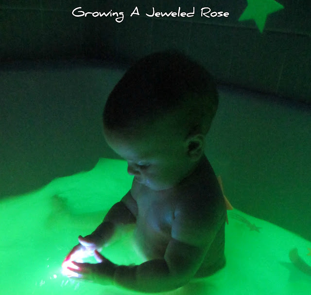 Glowing bath water