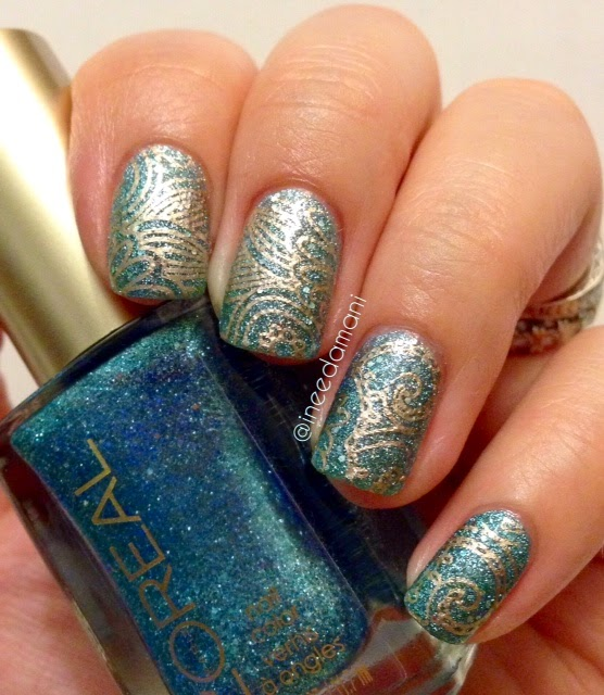 loreal pop the bubbles blue and gold arabesque nail stamping