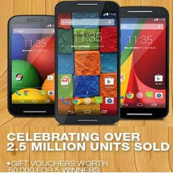 Flipkart: Buy Motorola Moto G, X or E Mobiles chance to win Rs. 50,000 or 100% Cashback