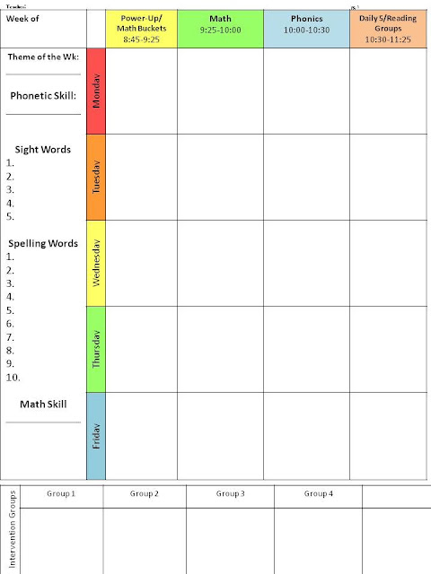 Lesson Plan Schedule Template