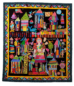 Mary Lou's Pacific Grove CA story quilt-hope you can see it in person-it is big and fun and colorfu