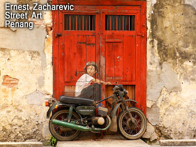 Great Ernest Zacharevic Street Art Painting Penang