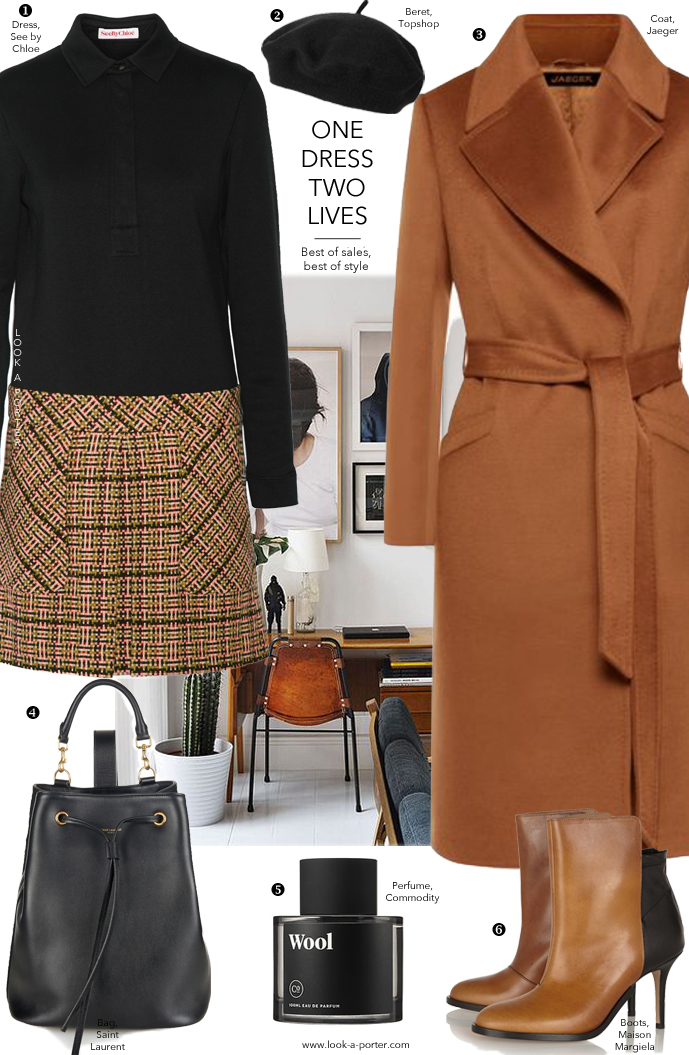 Styling See by Chloe dress and camel coat via www.look-a-porter.com style & fashion blog