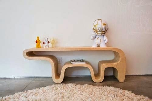 Modern furniture unique table from plywood by Daniel Lewis