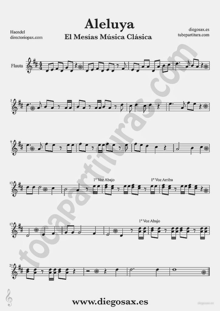 Tubepartitura Aleluya de Haendel partitura de Flauta El Mesias