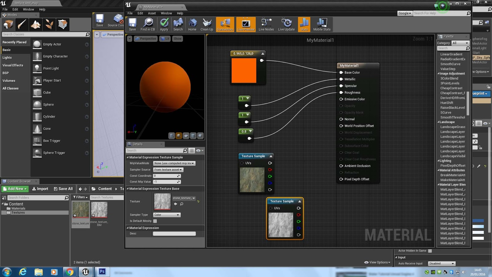 Dave johnson gaming journal creating a texture in unreal go back to the materials folder and double click the material you created previously to go to the blueprint editor malvernweather Gallery