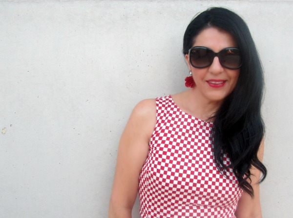 Vestido Damero rojo y blanco