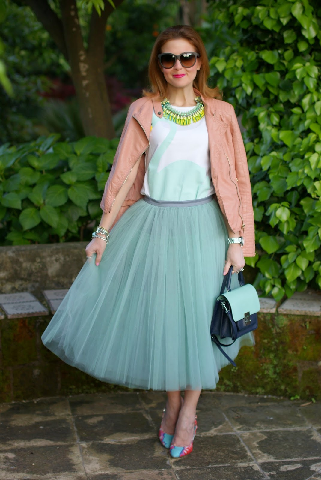midi tulle skirt, mint tulle skirt, Sodini necklace, swan t-shirt, Miu Miu inspired bag, Fashion and Cookies, fashion blogger