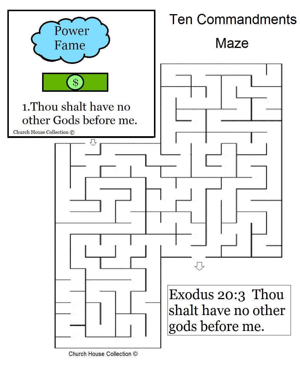 "Ten Commandments ""Thou Shalt Have No Other Gods Before Me"" Maze for ..."