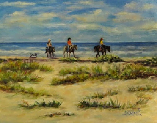 """Follow Me Boys"" , horses,riders, dog, beach"