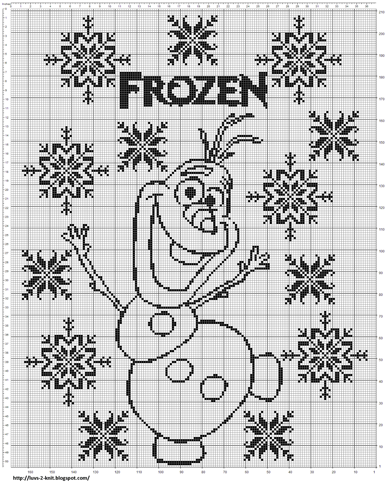 Olaf Knitting Pattern Chart : Cro Knit Inspired Creations By Luvs2knit: New Olaf Chart