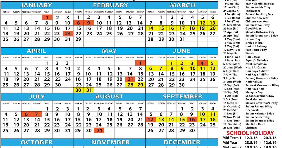 Free Calendar 2016 - Kalendar 2016 Malaysia