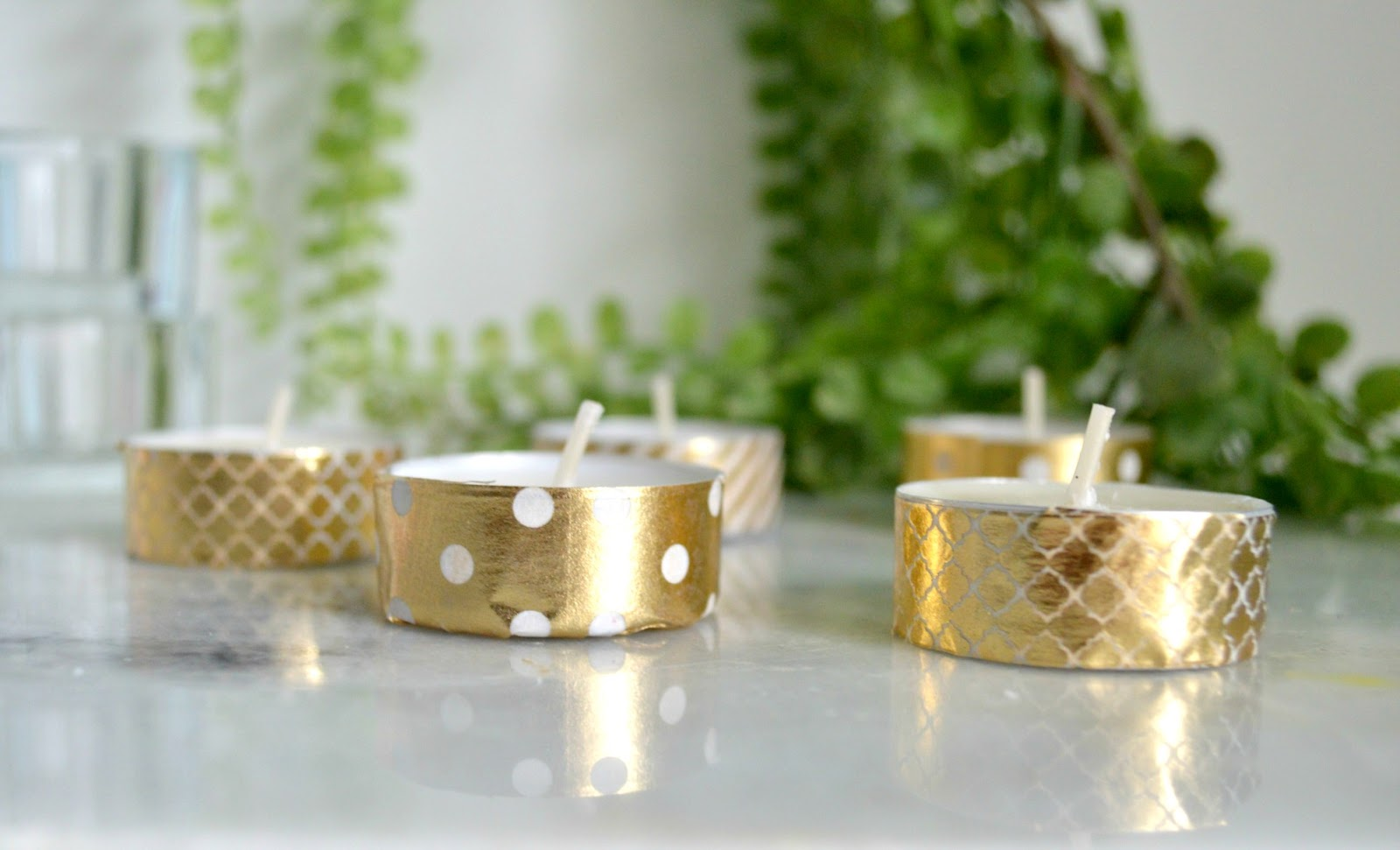 Gold Washi Tape Candle DIY