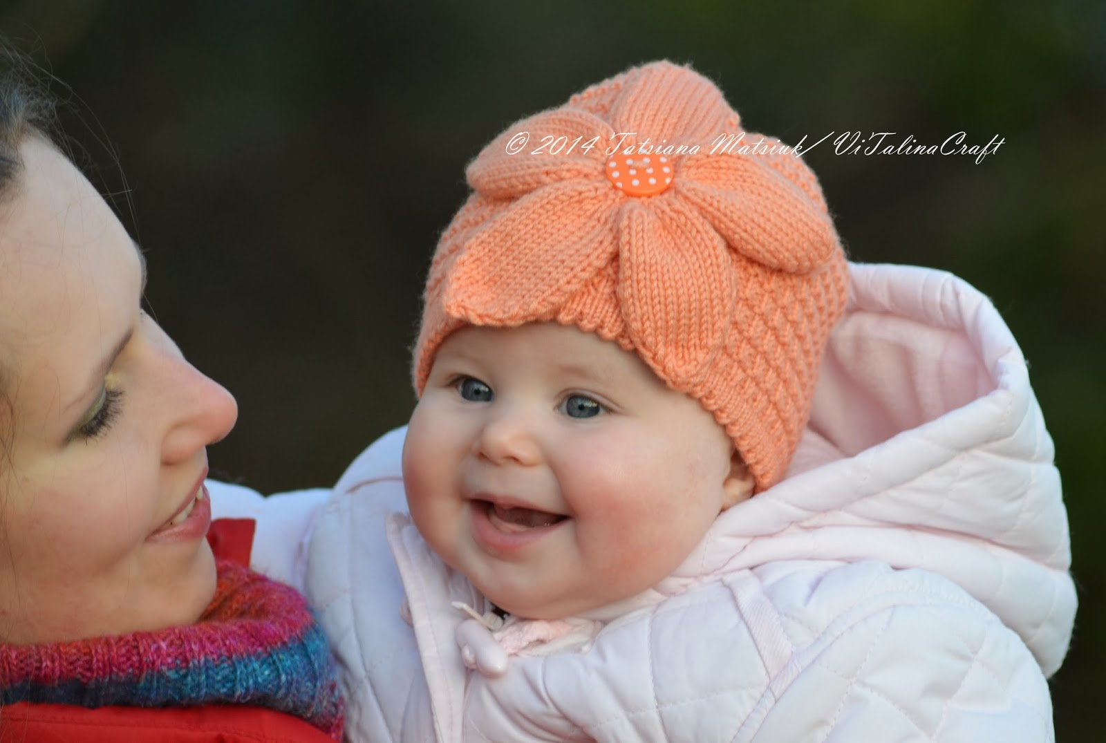 Knitting Pattern For Baby Hat With Flower : Peach Flower Baby Hat Knitting Pattern ViTalina Craft
