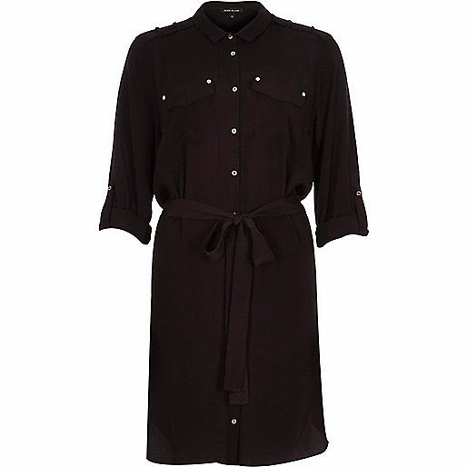 river island black shirt dress