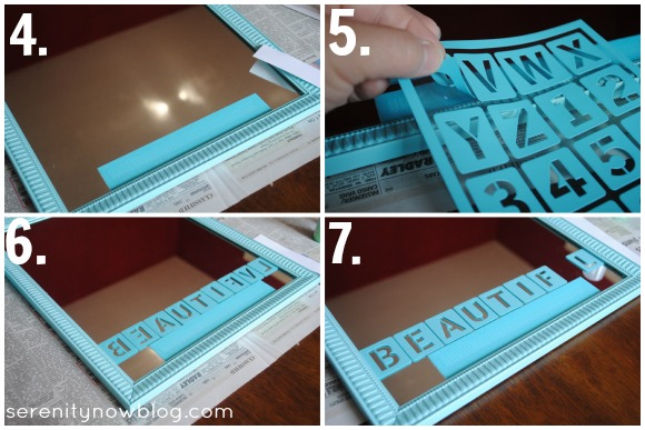 """You Are Beautiful"" Stenciled Mirror with Martha Stewart Crafts glass paint, from Serenity Now"