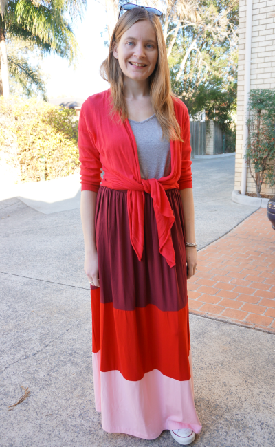away from blue asos stripe colour block maxi skirt red cardi grey tee