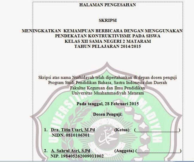 Halaman Pengesahan Skripsi Universitas Muhammadiyah