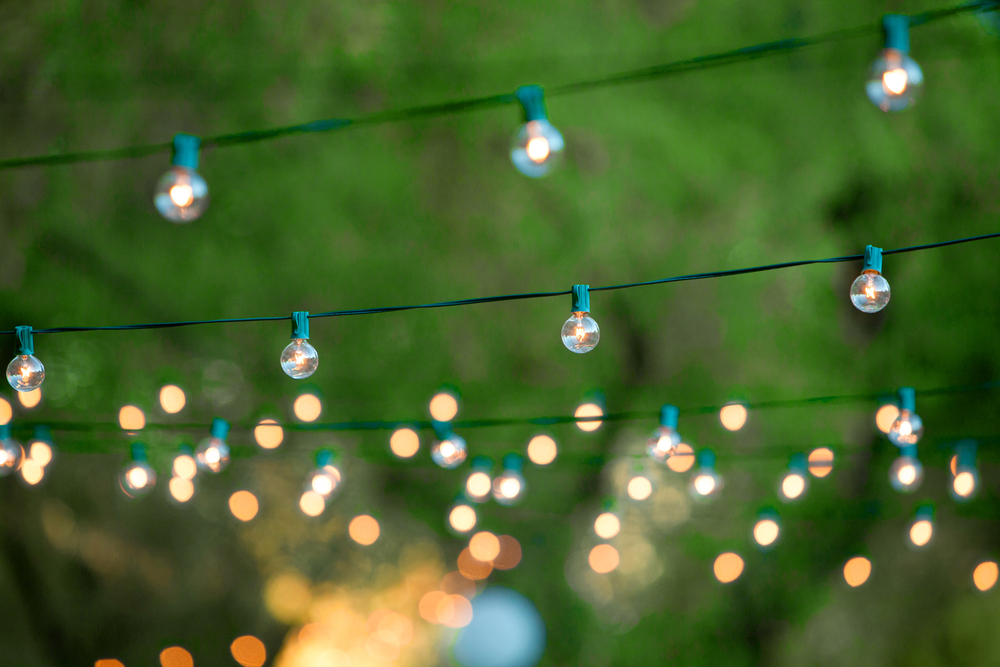 garden lights, summer garden party, garden party lights